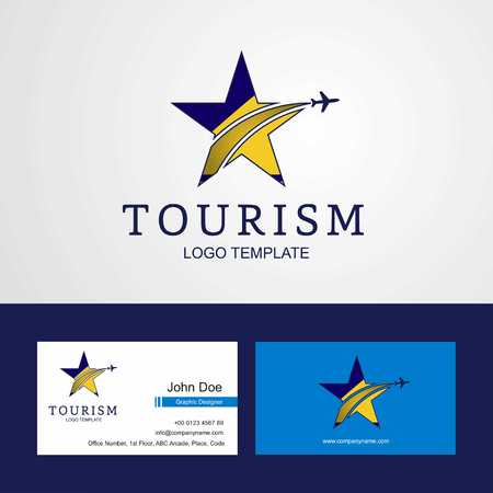 Travel Tokelau flag Creative Star Logo and Business card design Illustration