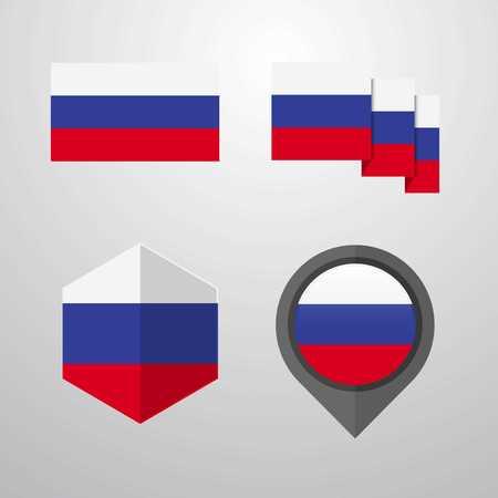 Russia flag design set vector