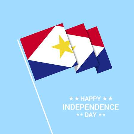 saba Independence day typographic design with flag vector Illustration