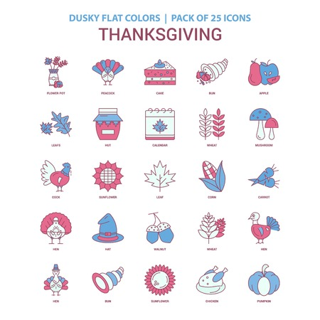 Thanksgiving  icon Dusky Flat color - Vintage 25 Icon Pack