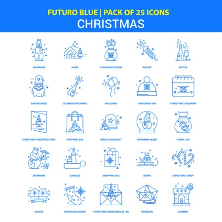 Christmas Icons - Futuro Blue 25 Icon pack