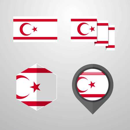 Northern Cyprus flag design set vector