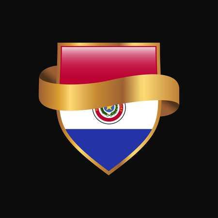 Paraguay flag Golden badge design vector Illustration