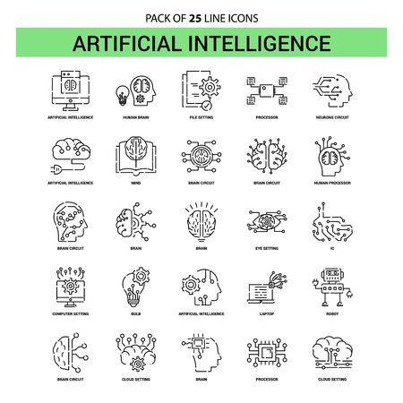 Artificial Intelligence Line Icon Set - 25 Dashed Outline Style Illustration