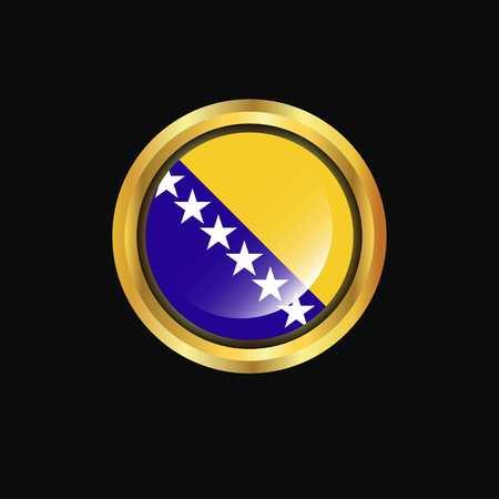 Bosnia and Herzegovina flag Golden button