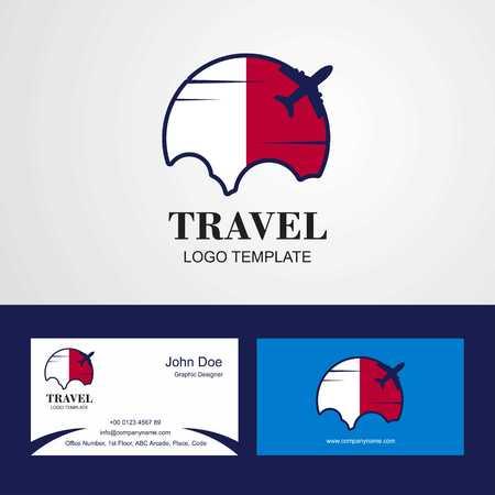 Travel Malta Flag Logo and Visiting Card Design