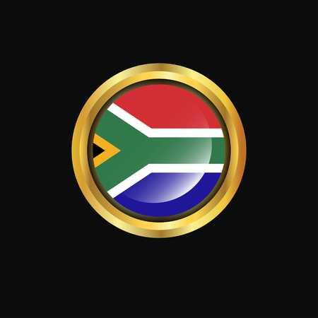 South Africa flag Golden button Illustration