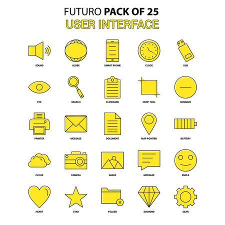 User Interface  Icon Set. Yellow Futuro Latest Design icon Pack