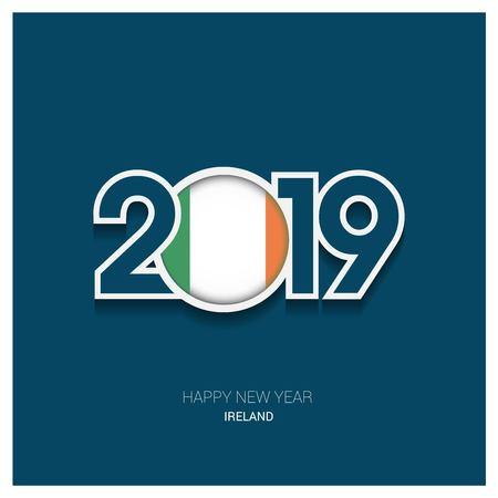 2019 Ireland Typography, Happy New Year Background