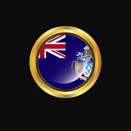 Tristan da Cunha flag Golden button Illustration