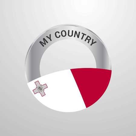 Malta My Country Flag badge Vektoros illusztráció