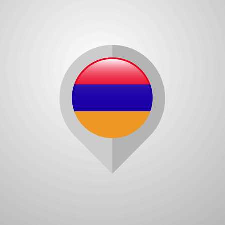Map Navigation pointer with Armenia flag design vector