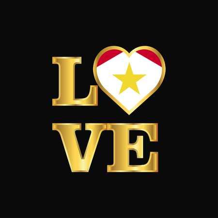 Love typography saba flag design vector Gold lettering Illustration