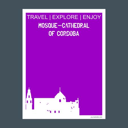 Mosque-cathedral of Cardoba, Spain monument landmark brochure Flat style and typography vector Foto de archivo - 118298029