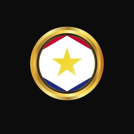saba flag Golden button Illustration