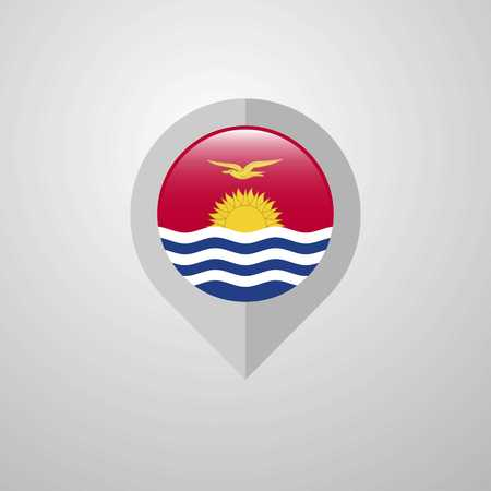 Map Navigation pointer with Kiribati flag design vector Vektoros illusztráció