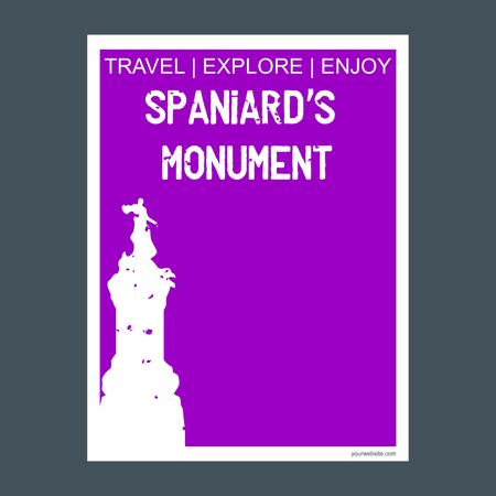 Spaniards Monument Buenos Aires, Argentina monument landmark brochure Flat style and typography vector
