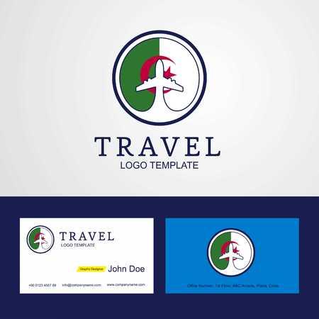Travel Alegeria Creative Circle flag Logo and Business card design Illustration