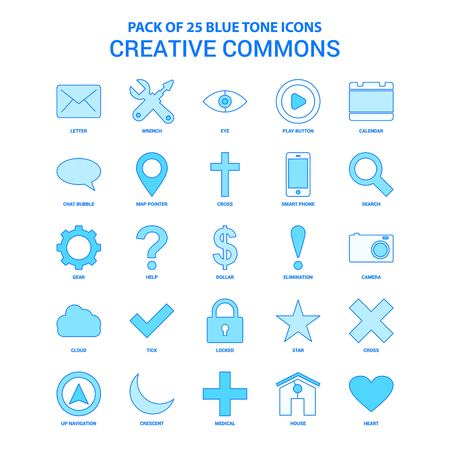 Creative Commons Blue Tone Icon Pack - 25 Icon Sets Illustration