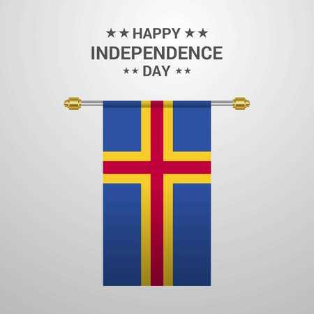 Fondo de bandera colgante del día de la independencia de Aland
