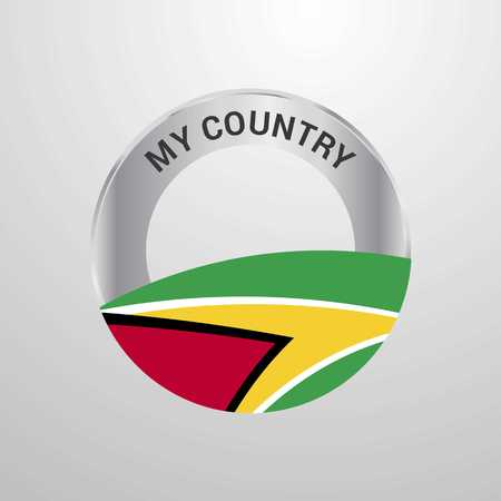 Guyana My Country Flag badge Illustration