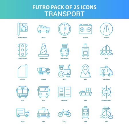 25 Green and Blue Futuro Transport Icon Pack