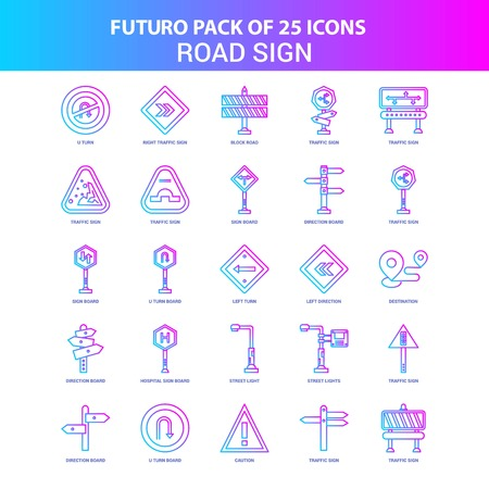 25 Blue and Pink Futuro Road Sign Icon Pack Illustration