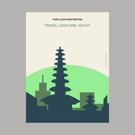 Pura Ulun bratan Bali island, Indonesia Vintage Style Landmark Poster Template