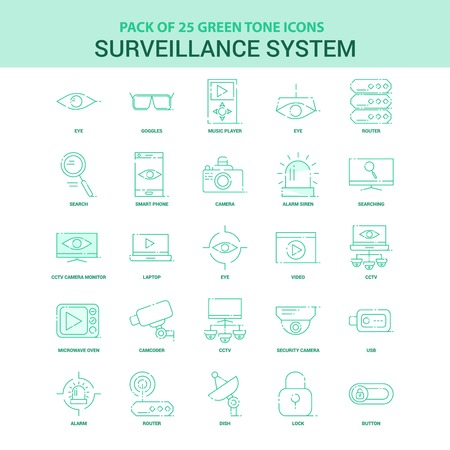 25 Green Surveillance Icon set