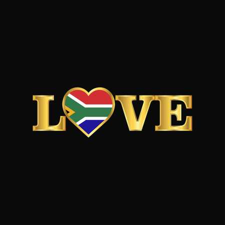 Golden Love typography South Africa flag design vector