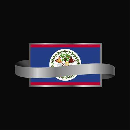Belize flag Ribbon banner design
