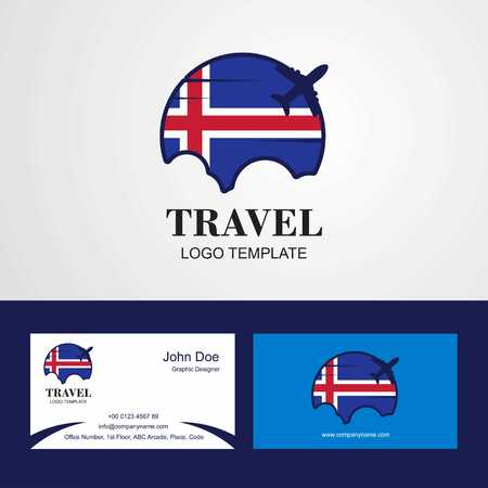 Travel Iceland Flag Logo and Visiting Card Design