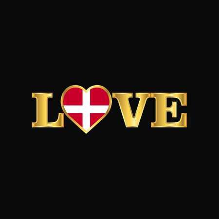 Golden Love typography Sovereign Military order of Malta flag design vector