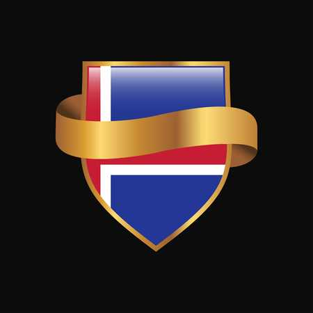 Iceland flag Golden badge design vector Ilustração