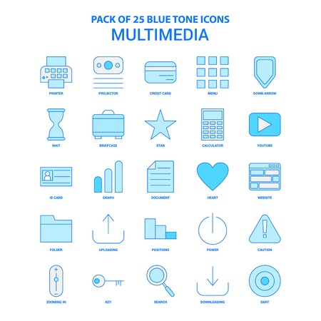 Multimedia Blue Tone Icon Pack - 25 Icon Sets Stok Fotoğraf - 118298166