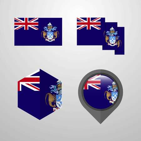 Tristan da Cunha flag design set vector Stock Illustratie
