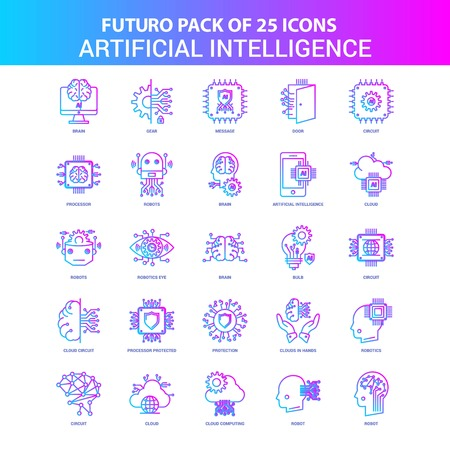 25 Blue and Pink Futuro Artificial Intelligence Icon Pack Çizim