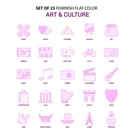 Set of 25 Feminish Art and Culture Flat Color Pink Icon set