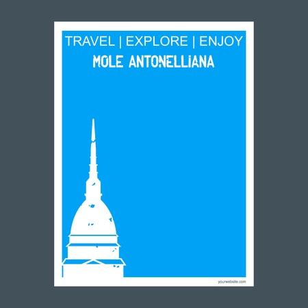 Mole Antonelliana, Italy monument landmark brochure Flat style and typography vector