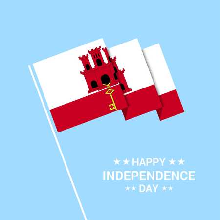 Gibraltar Independence day typographic design with flag vector