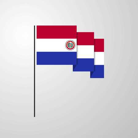 Paraguay waving Flag creative background
