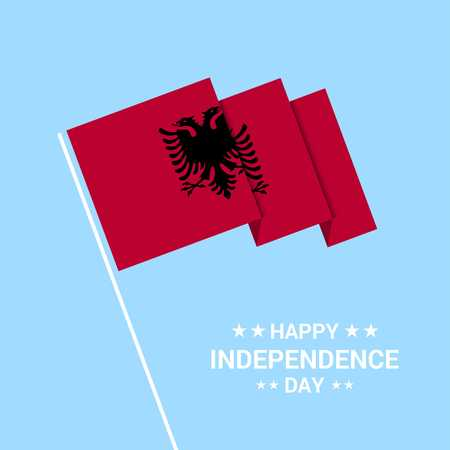 Albania Independence day typographic design with flag vector