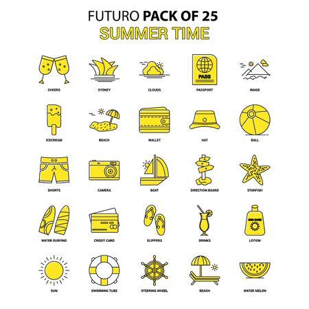 Summer Time Icon Set. Yellow Futuro Latest Design icon Pack