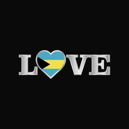 Love typography with Bahamas flag design vector