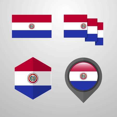 Paraguay flag design set vector