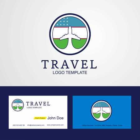 Travel Uzbekistan Creative Circle flag Logo and Business card design Stock Illustratie