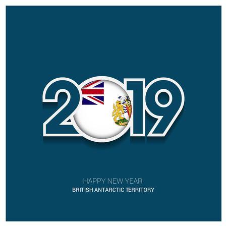2019 British antarctic Territory Typography, Happy New Year Background