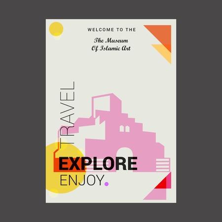 Bienvenido al Museo de Arte Islámico de Doha, Qatar Explore, Travel Enjoy Poster Template