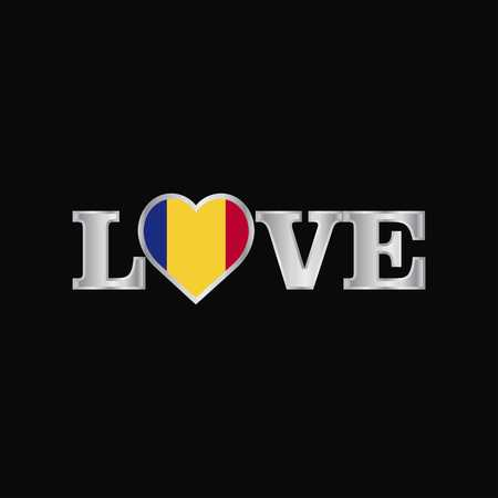 Love typography with Romania flag design vector