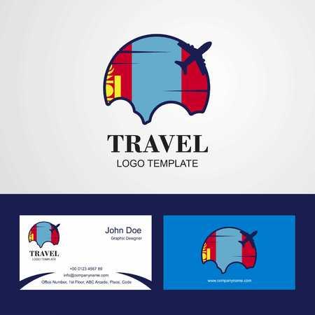 Travel Mongolia Flag Logo and Visiting Card Design Stock Illustratie